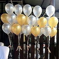 BELLE VOUS Globos de Látex 103 Piezas Globos de 30,5cm Dorados y Blancos Látex y Papel de Aluminio Cumpleaños, Fiestas de Niños, Baby Showers, Graduación y Set Decoraciones Fiesta