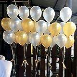 BELLE VOUS Luftballons für Geburtstag 103-tlg. Dekorationen-Set 30,5cm Goldene u. Weiße Party Latexballons u. Folienballons Geburtstag, Kinderpartys, Babypartys, Abschluss- u. Hochzeitsfeiern - Dekorations-Zubehör
