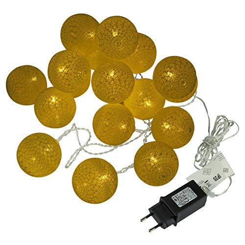 Kugel-Lichterkette 20 LED warm weiß Lichterkette mit Flechtdesign Textil-Design Weihnachtsdeko Kugellichter Leuchtbälle Trafo Zimmerdekoration Xmas