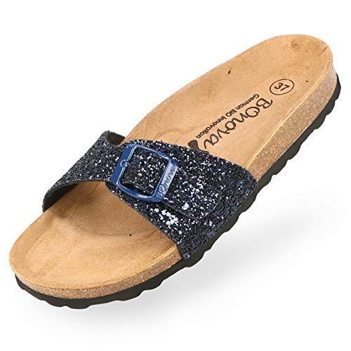 BOnova Damen Pantoletten Teneriffa in 10 Farben, modischer Einriemer mit Korkfußbett - komfortable Sandalen zum Wohlfühlen - hergestellt in der EU Glitter blau 39 Damen Schuhe Glitter