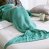 Colorfulworld Meerjungfrau Decke gestrickten Strickmuster Fischschwanz Schlafdecke Meerjungfrauschwanz Adults Stil (green)