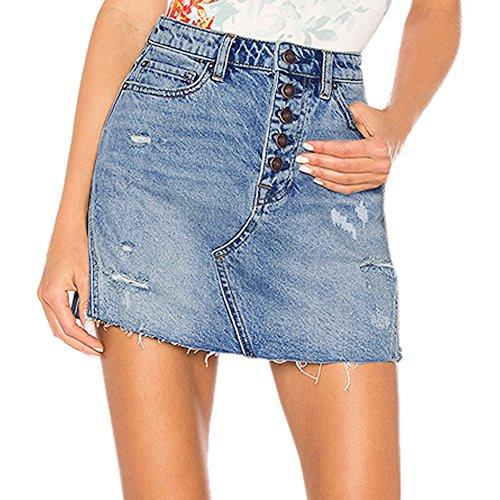 Beladla Falda Mujer Corta Slim Color SóLido Minifalda Falda Tejana A-LìNea Skirt para Chica Joven EláStica