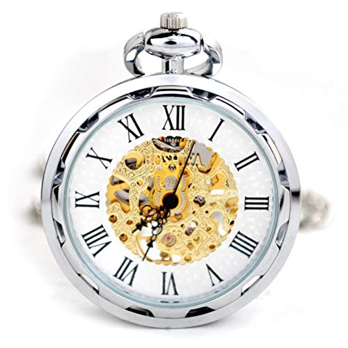 GaLon Quarz-Taschenuhr, mechanische Taschenuhr-Kleidungs-Maschinerie-verbundene Liste, mechanische Uhr des Unisexwind-ledernen Seils mit Geschenkbox (Color : Silver) (Sanitäter Krankenschwester Kostüm)