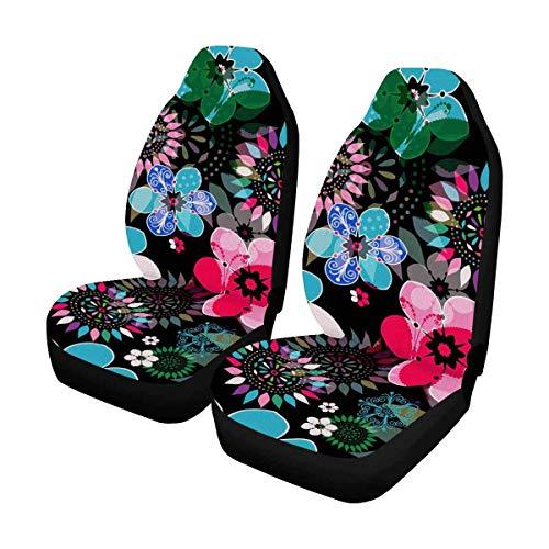 DLing Motivo Floreale Scuro con Fiori Colorati, coprisedili Anteriori per Farfalle traslucide Set di 2, coprisedili per tappetini per Auto