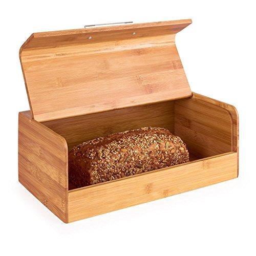 Klappbarer Holz-box (Klarstein Basket No. 9 • Brotkasten • Brotbox • massiver Bambus • klappbarer Deckel • 7 Liter • leichte Befüllung • Metallgriff • hohe Stabilität • große Innenfläche • leicht zu reinigen • lange Lebensdauer • einfacher Zugriff • sichere Verwahrung von Backware • braun)