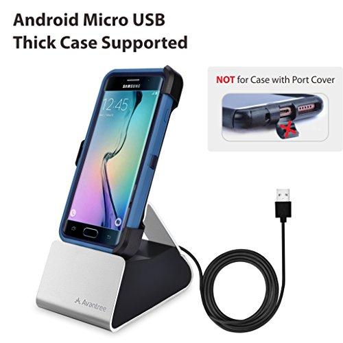 Avantree Ladestation Samsung Galaxy / Handy Dockingstation Micro USB mit Sync und Ladekabel (Nicht Type C), Unterstützt Dicke HandyHüllen, Ladedock für Huawei, Google, LG und Android