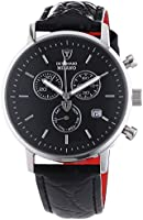 Detomaso Men's Quartz Watch MILANO Chronograph Silver/Black DT1052-A with Leather Strap