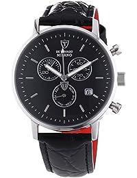 DETOMASO Herren-Armbanduhr Milano mit silbernem Edelstahl-Gehäuse und schwarzem Zifferblatt. Elegante Quarz Herren-Uhr mit schwarzem Leder-Armband