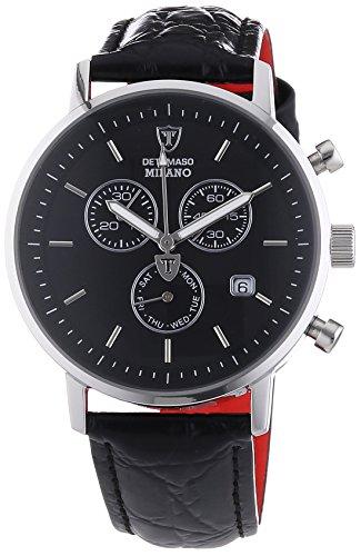 Milano Leder-armband (DETOMASO Herren-Armbanduhr Milano mit silbernem Edelstahl-Gehäuse und schwarzem Zifferblatt. Elegante Quarz Herren-Uhr mit schwarzem Leder-Armband)