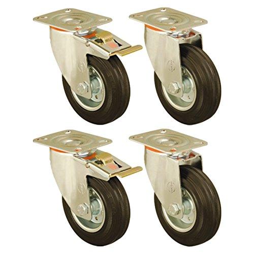 Set of 4 - 150mm Rubber Wheel Castors plate fitting Casters Heavy Duty Test