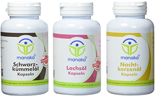 manako Ölkapsel Set: Schwarzkümmelöl, Nachtkerzenöl, Lachsöl, 3 Dosen mit je 150 Kapseln