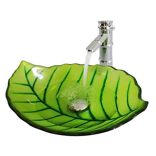 HomeLava Glas Waschbecken Modern Bl?tter Design im Badezimmer mit Ablaufgarnitur, Montager