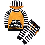 Baby Boys Arrow Geometric Pattern Long Sleeve Hoodie T-Shirt Top And Long Pants Outfit Set, Yellow)