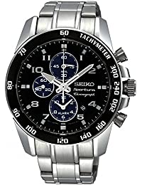 Seiko Sportura Stainless Steel Chronograph Black Dial Men's Watch-[SNAE63P1]