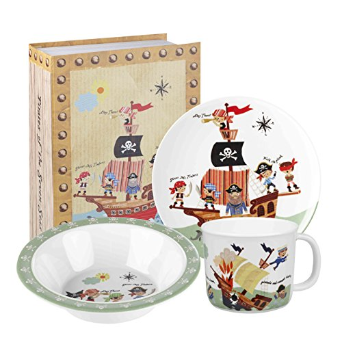 Little Rhymes Set Petit-déjeuner 3 pièces Motif Pirates Multicolore