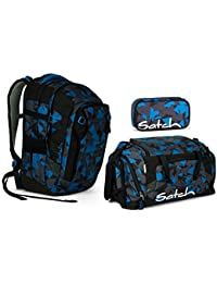 dc6e2b5970d97 Satch MATCH by Ergobag - 3tlg. Set Schulrucksack - Blue Triangle (SchlamperBox  und…