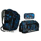 Satch MATCH by Ergobag - 3tlg. Set Schulrucksack - Blue Triangle (SchlamperBox und Sporttasche)