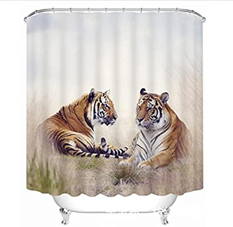 GFYWZ Polyester Shower Curtain 3D Two tigers Three dimensions Printing Fabrics Waterproof Mildew Resistant Thickened Bathroom Occlusion Cut off Hanging curtains , 180*180cm