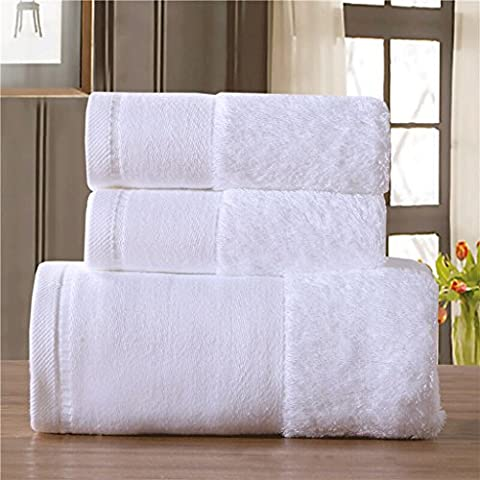 Bath Towels With Ultra Soft And Absorbent More-fibrous Threads, And Moisture-sucking Loops' Feature-Set Of 3 Pieces -Square Towels (13.77 * 13.77 Inches), Towels (13.77 * 27.55 Inches), Bath Towels (27.55 * 55.11 Inches) In Five Colors ( Color : White