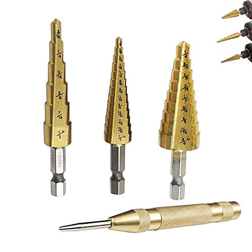 4in Hex Shank Drill Bit (OxoxO Titanium Step Drill Bits Set Hex Shank ,Total 28 Step Sizes,3/16