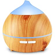 250ml Essential Oil Diffuser Aromatherapy Aroma Diffuser Wood Grain Humidifier, Ultrasonic Adjustable Cool Mist, Waterless Auto Shut-Off and 7 Color LED