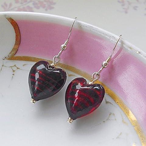 Diana Ingram dark red Murano glass small heart (13mm) earrings