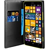 Muvit MUSNS0095 - Funda folio tipo cartera con función soporte y tarjetero para Nokia Lumia 1320, negro