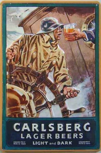 CARLSBERG STEERMAN CON RELIEVE ACERO SIGN