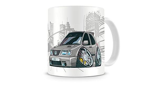 KOOLART Karikatur VW Polo Car Becher Kaffeetasse Silber