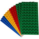 Premium Big Briks Blue, Green, Red, And Yellow Baseplate Set - 12 Pack - Compatible With All Major Large Size Brands - Large Pegs