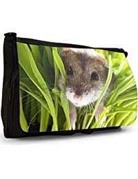 Preisvergleich für Hamster Große Messenger- / Laptop- / Schultasche Schultertasche aus schwarzem Canvas
