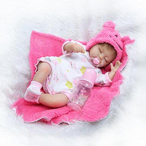 nicery Reborn Baby-Puppe Weich Simulation Silikon Vinyl 45,7cm 42–45cm Kinder Freund magnetisch Mund lebensechte Toy Boy Mädchen Augen schließen mit Outfit für Thanksgiving schwarz Freitag Weihnachten ()