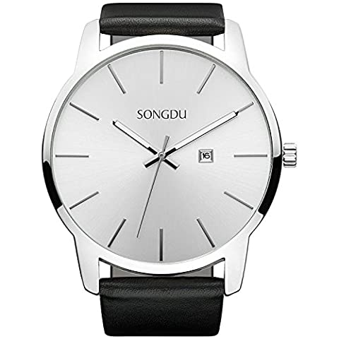 SONGDU Men's Simple Design Date Stainless Steel Quartz Watch White