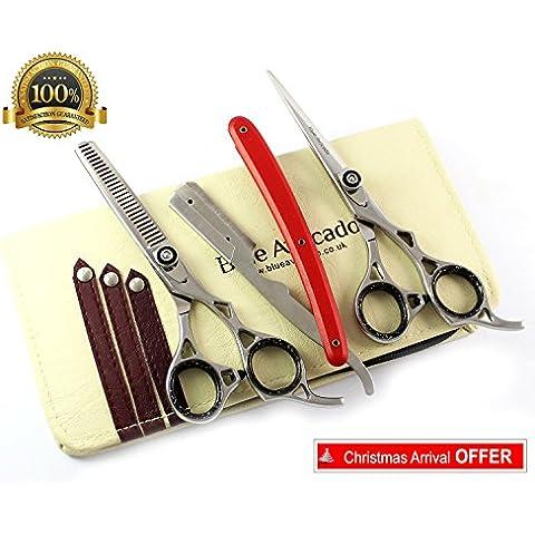 Blue Avocado Tijeras - tijeras de pelo profesional, tijeras de peluquería juego de cajas de acero filo de la navaja de la lámina aguda Tijeras Tijeras +