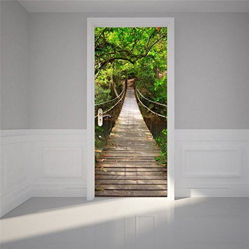 ulable 3D Tür Poster Wand Aufkleber Holz Zugbrücke zum Aufhängen Steg für Schlafzimmer