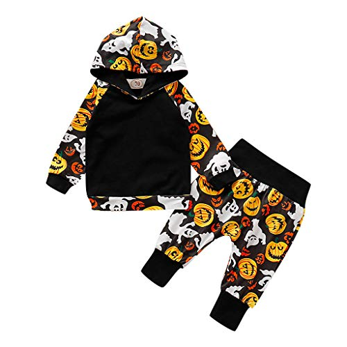 Romantic Kinder Baby Jungen Lange Ärmel SKürbis/Devil Gedruckt Strampler Baby Halloween Kostüme Cosplay Overall, Kinder Halloween Kostüm für Baby Verkleiden Strampler - Haar Clown Kostüm