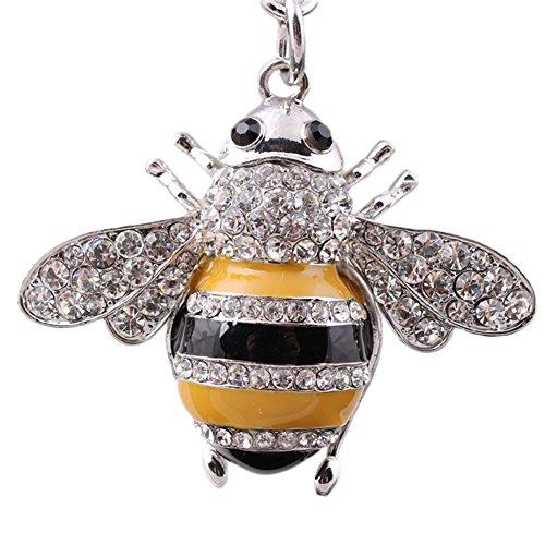 Fansi 1Schlüsselanhänger Bee Diamant Tasche Cute Schlüsselanhänger Auto Schlüsselanhänger Key Anhänger für Weihnachten Valentinstag Geschenk, Legierung, Silber, 11.5*6CM