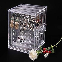 8ead2c3df735 218 Agujeros de plástico Pendiente de exhibición del Caso del Organizador  Titular de la joyería Caja de Almacenamiento con 3 cajón Vertical  Transparente