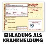 Einladungskarten zum Geburtstag - Krankmeldung | 25 Stück | Inkl. Druck Ihrer persönlichen Texte | Individuelle Einladungen | Karte Einladung