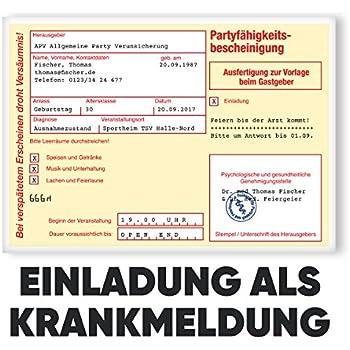 50 einladungskarten geburtstag als krankschreibung for Amazon einladungskarten
