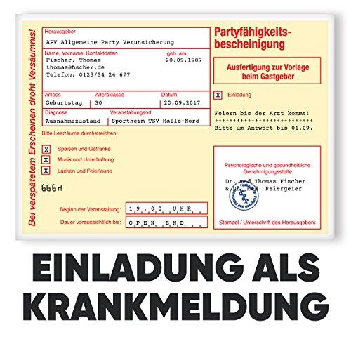 Einladungskarten zum Geburtstag - Krankmeldung | 40 Stück | Inkl. Druck Ihrer persönlichen Texte | Individuelle Einladungen | Karte Einladung