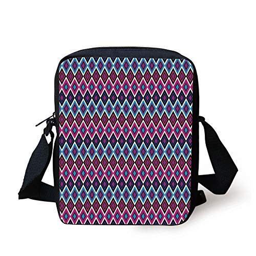 WITHY Geometric,Vintage Colorful Abstract Diamond Line Pattern Psychedelic Sixties Inspired Decorative,Blue Pink Black Print Kids Crossbody Messenger Bag Purse -