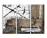 130x90 cm Abstraktes Wandbild! 3-teiliges Leinwandbild Fotoleinwand weiß schwarz braun gemalt
