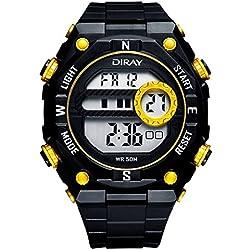 Unisex Sport Watch Multifunction Led Light Digital Waterproof Wristwatch(Yellow)