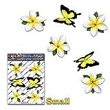 Fleur blanc single frangipani plumeria petit + Papillon animal Pack autocollants voiture - ST00041WT_SML - JAS Autocollants