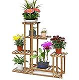 Malayas Étagère à Fleurs en Bois Porte Pots de Plante Fleurs avec 6 Tablettes Escalier Présentoire de Jardin 96x95x25CM