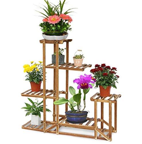 Malayas scaffale porta-fiori 6 ripiani legno fioriera verticale a scala da interno 95 cm x 26 cm x 71 cm