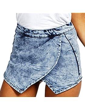 Donne Pantaloncini Gonna Corti Jeans Vita Alta Shorts Irregolare Hot Pant Pantalone Caldo