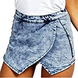 Donne Pantaloncini Gonna Corti Jeans Vita Alta Shorts Irregolare Hot Pant Pantalone Caldo Blu Marino M