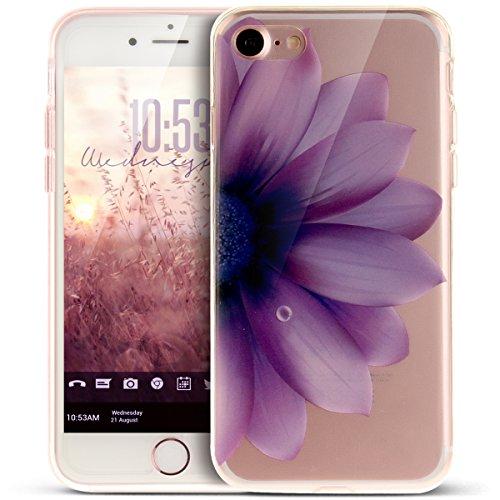 Coque iPhone 7,Étui iPhone 7,iPhone 7 Case,ikasus® Coque iPhone 7 Silicone Étui Housse [Conception IMD et cadre en silicone TPU] Téléphone Couverture TPU Ultra Mince Premium Semi Hybrid Crystal Clear  Fleur mauve